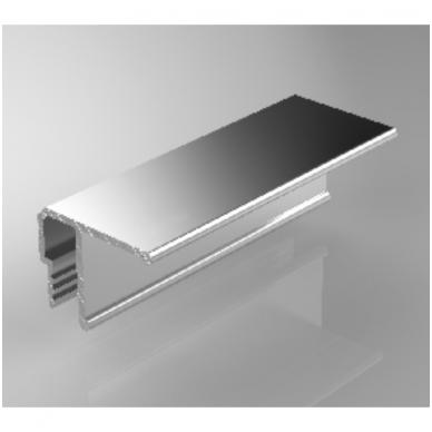 """Aliuminio profilis lubinis """"su dantuku"""" tvirtinti dengančioji juostą, 2,5 m ilgio"""