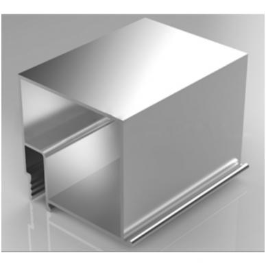"""Aliuminio profilis """"su dantuku"""" su """"bruseliu"""" (paslėptam karnizui) 2,0 m ilgio"""