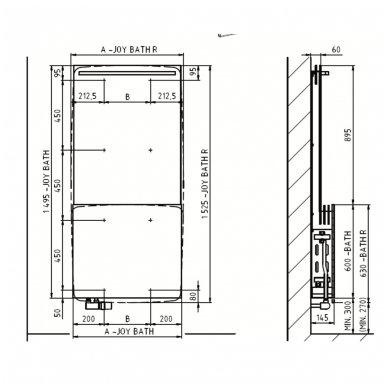 Joy Bath (700x1495 mm, 2,4,6 eilių, vidinio pajungimo) 6